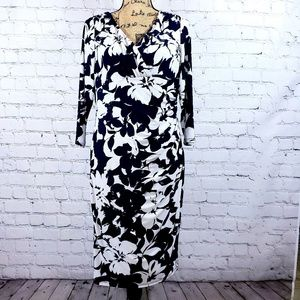Lauren Ralph Lauren navy while floral midi dress